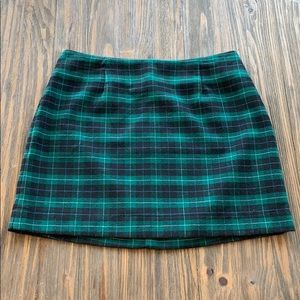 Plaid Mini Skirt with Gold Zipper